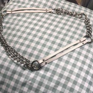 Ann Taylor cream leather belt adjustable. Size M/L